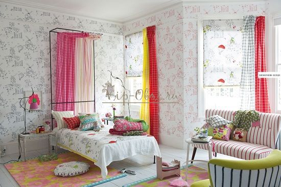 Комбинация цвета обоев для детской комнаты