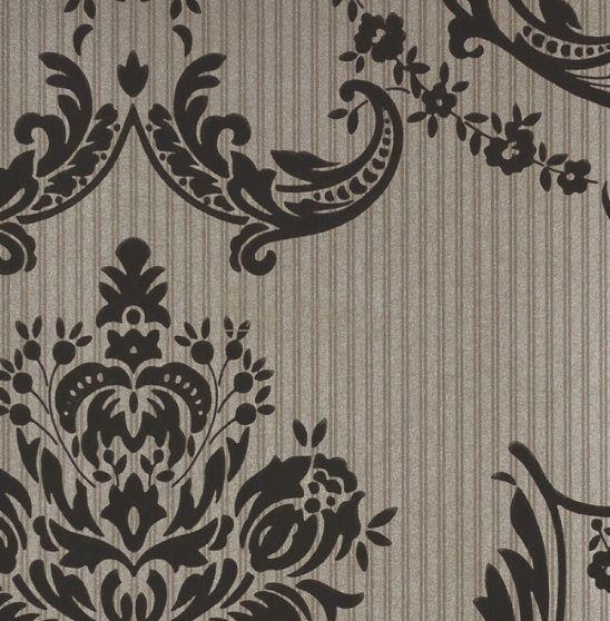 Обои Spell Bound 50-466- бренда Graham & Brown с черным дамасским узором .