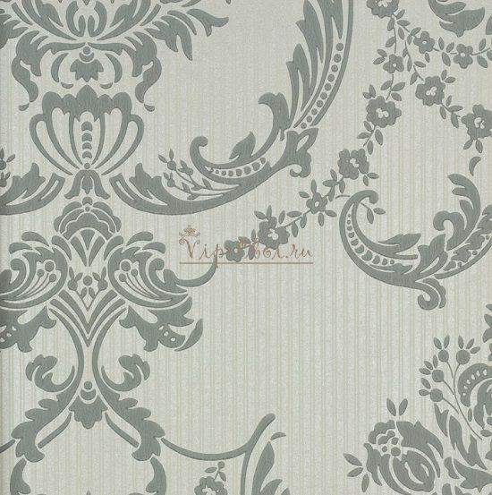 Обои Spell Bound 50-469 бренда Graham & Brown Palace с темно-серым узором на серебристом фоне.