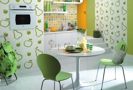 Комбинирование обоев на кухне в зелёных и желтых тонах