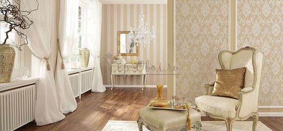 Комбинирование обоев в гостиной в классическом стиле