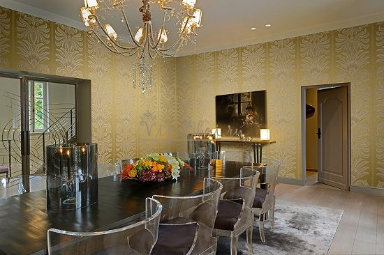 Дизайн обоев для зала жёлтый