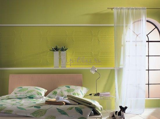 Комбинация обоев в спальне с разным рельефом